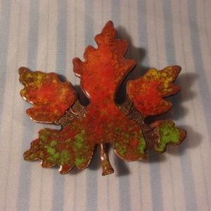 Orange Green Enamel on Copper Maple Leaf Pin